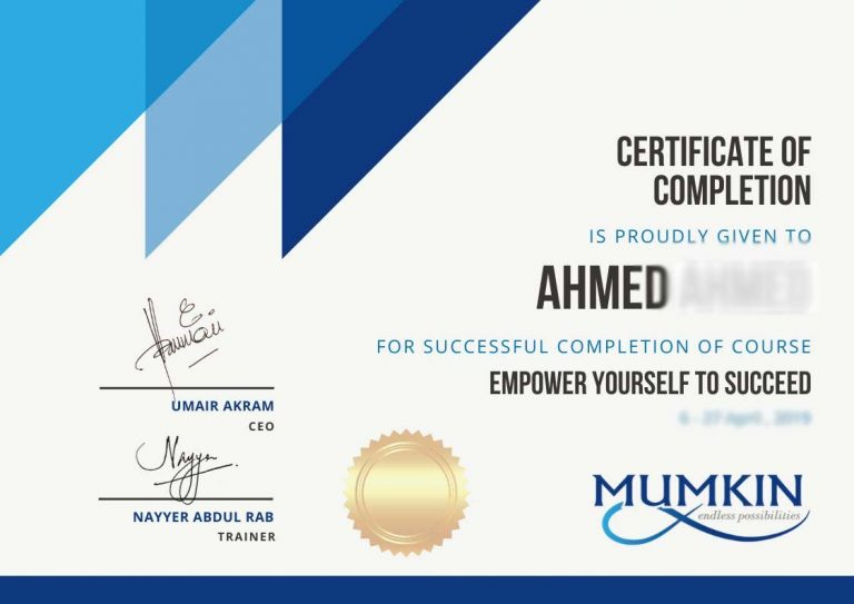 Empower yourself to succeed certificate